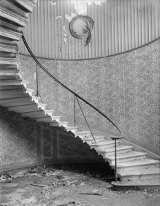 The stairs at East Cowes Castle. Picture taken in the 1950s when the house partially derilict. The same fluted affect as on the walls here.
