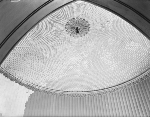 The fish scale domed ceiling of the staircase at East Cowes Castle.