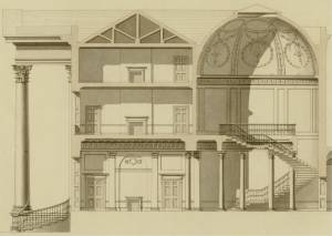 One of the coss sections of the Mansion as Stuart designed it. The Grand Staircase with it's domed roof on the right was the part removed by Nash in 1805.