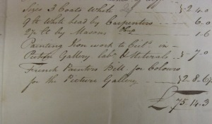 John Birch's Bill for painting done to the Picture Gallery dated 11th August 1808.